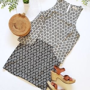 Skies are Blue Popover Black and White Dress